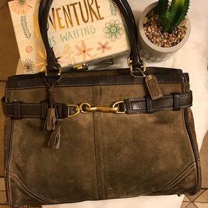 Coach Hamptons large brown suede purse
